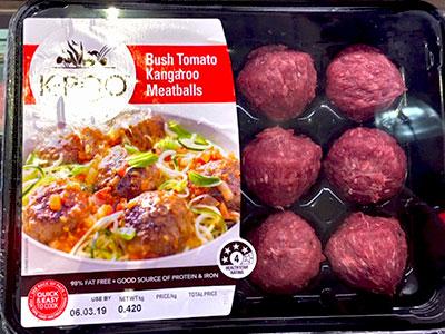 カンガルー肉を牛肉と混ぜ、肉団子の状態で店頭に並べられることも