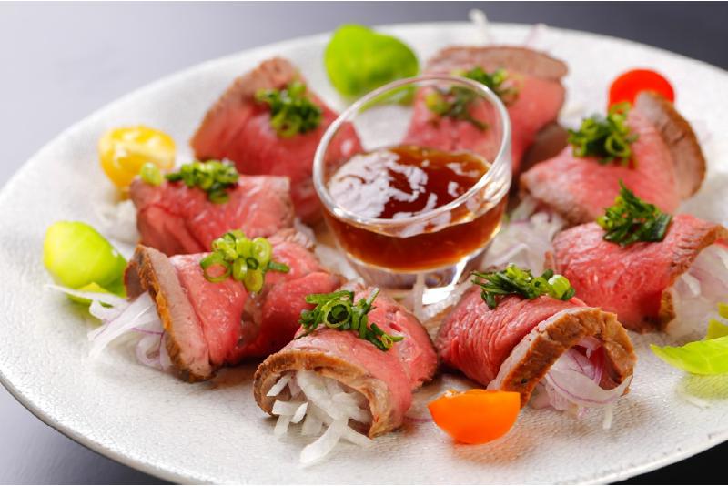 ロース肉のタタキ ポン酢ジュレ